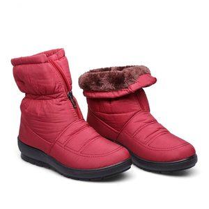 Image 5 - Waterdichte down enkellaars vrouwen rits warme snowboots schoenen vrouw warme bont botas vrouwelijke schoenen 35 42 vrouwen winter laarzen