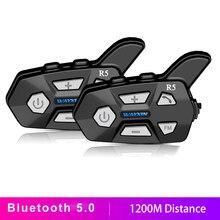 WAYXIN Bluetooth 5.0 Motorcycle Helmet Intercom 2 People 1200M Talking Universal Pairing Waterproof Interphone Headset FM Radio