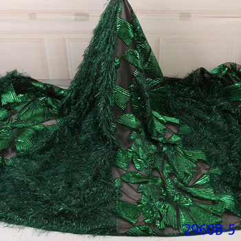 New Arrival Green African Jacquard Lace High Quality Brocade Lace With Feather For Nigerian Party Dress African Laces GD2960B-5