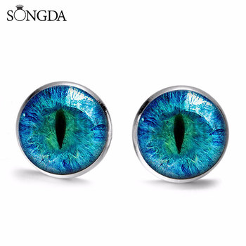 Cool Dragon Eye Stud Earrings Green Blue Purple Red Sauron Eyes Art Photo Glass Cabochon Time Gem Earrings For Women Men Gifts image