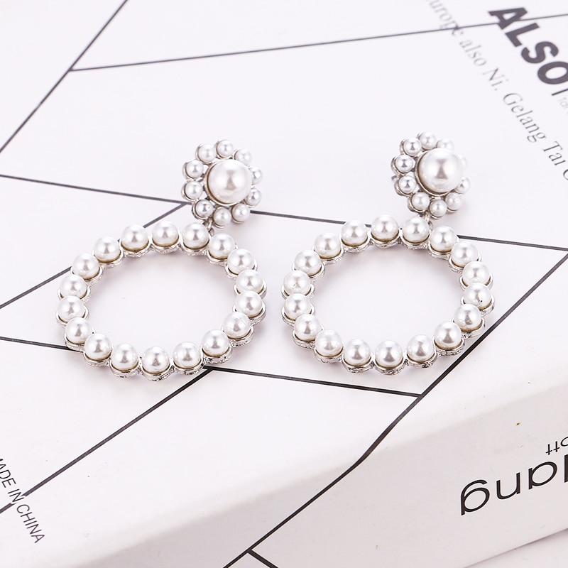 HOCOLE Vintage Gold Drop Earrings For Women 2019 Brincos Geometric Pearl Dangle Earring Female Wedding Party Jewelry Wholesale in Drop Earrings from Jewelry Accessories