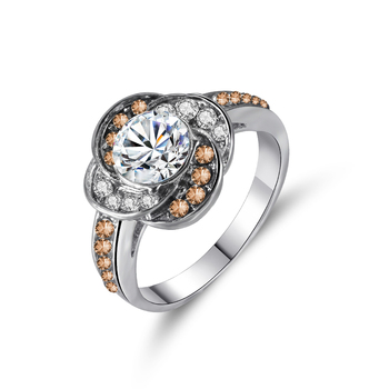 Ladies Ring Fashion Charm Inlaid Zircon Flower Shape Silver Color Ring Banquet Engagement Ring To Give Girlfriend A Gift 1