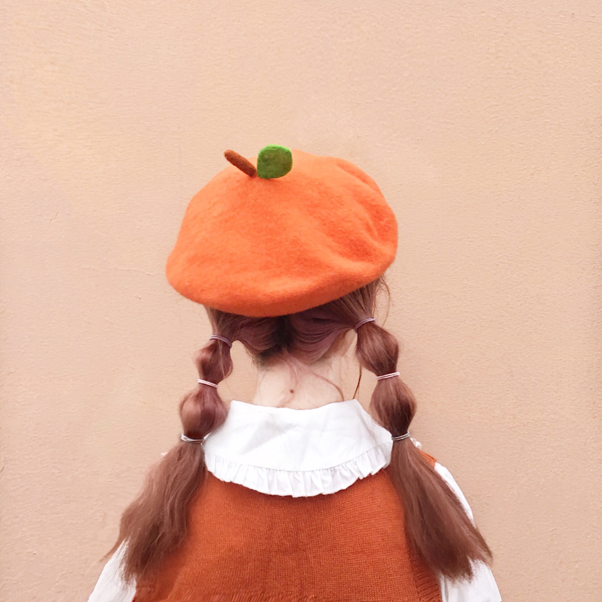 Women Cute Orange Leaf Berets Girls Creative Handmade Wool Felt Beanies Caps Painter Hat 2019 Winter Parent-child French Hat