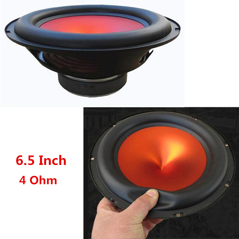 6.5 Inch 4 Ohm 400W V-shaped Red Funnel Cone Thick Rubber Edge Car Audio Modified High Power Subwoofer Auto Home Bass Speaker