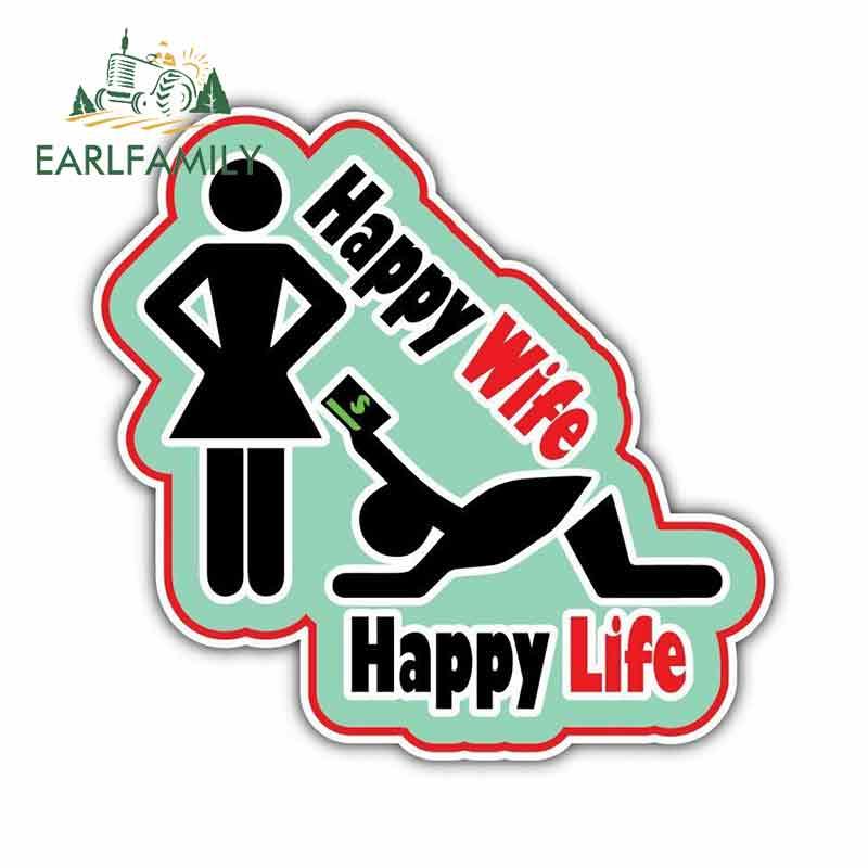 Happy Life vinyl sticker funny decal Car truck suv Happy Wife