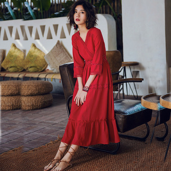 2020 New Retro Beach Dress Women Spring and Summer Seaside Holiday Slim Red