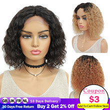 Short Bob Kinky Curly Wigs Brazilian Natural Human Hair Wigs For Black Women Full Machine Wigs Middle Part Ombre Curly Wig IJOY
