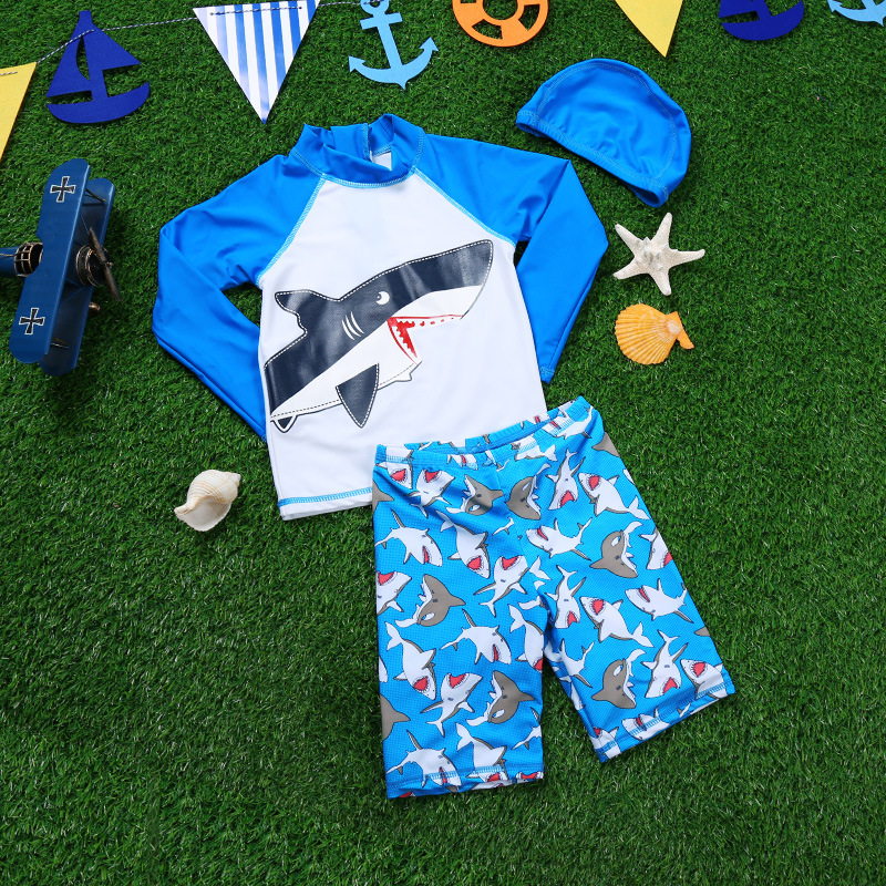 2017 Haiyishan CHILDREN'S Swimwear Split Shark Printed Boys Trousers Long-sleeved Swimsuit Men's