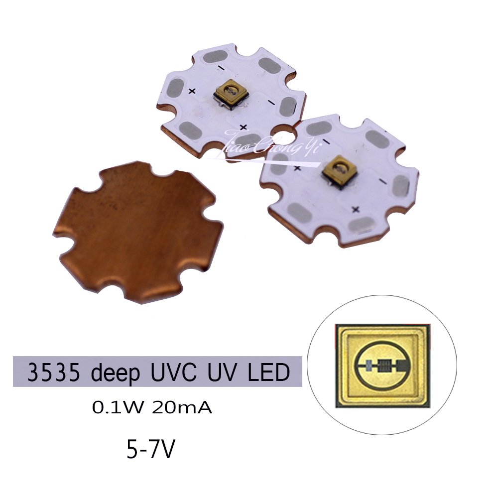 3535 0.1W UVC UV LED 280nm 310nm Deep Violet Ultraviolet Light 5V-7v With 20mm Copper PCB