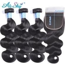 Ali Sky Hair Peruvian Body WAVE 3 รวมกลุ่มกับการปิดPre Plucked Hairline 5x5 ปิดWeave remy Hair Extensions