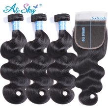 Bundles Closure Hair-Extensions Weave Sky-Hair Body-Wave Peruvian Ali with Pre-Plucked
