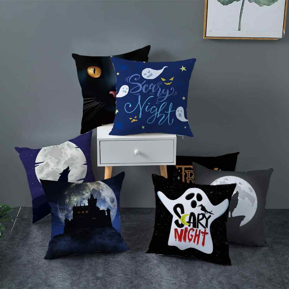1PC Funny Halloween Pumpkin Ghost Bat Trick or Treat Cushion Cover Pillow Case Striped Geometric Pillowcase kussen Sofa Decor