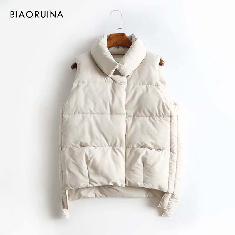 BIAORUINA Women's Korean Style All-match Sleeveless Keep Warm Vest Stand Collar Female Sweet Thick Winter Vest Covered Buttons