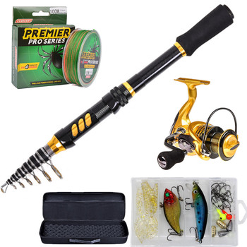 Telescopic Fishing Rod and Reel Combo Set with Fishing Line, Fishing Lures Kit Accessories and Carrier Bag for Saltwater Freshw