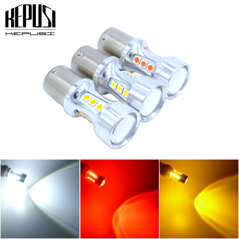 2x BA15S <font><b>P21W</b></font> <font><b>LED</b></font> Bulbs S25 1156 3030 Chip Projector for Reverse Brake Tail Turn Signal Lights Automobiles Lamp White Red <font><b>Amber</b></font> image