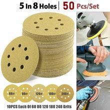 50pcs 125mm Sandpaper Round Shape Sanding Discs Hook Loop Sanding Paper Buffing Sheet Sandpaper 8 Hole Sander Polishing Pad