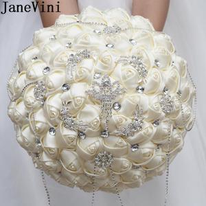 JaneVini 30 см роскошные стразы букет невесты Брошь букет цвета слоновой кости ручной работы хрустальные свадебные букеты атласная роза wesele
