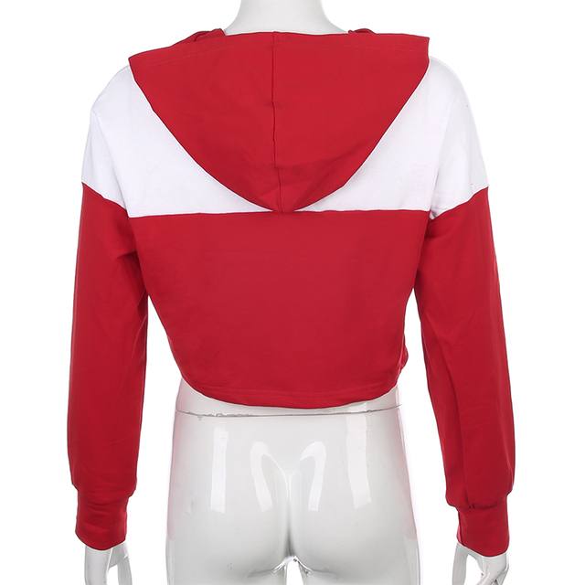 Crop Top hoodie in red and white