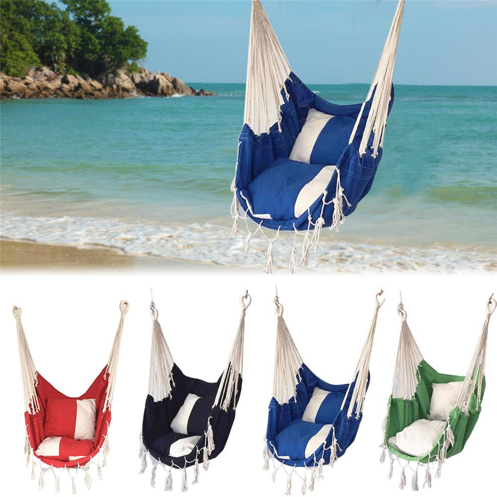 Portable Travel Camping Hanging Hammock Swing Lazy Chair Canvas Hammocks  For Children Adult Student 4 Colors