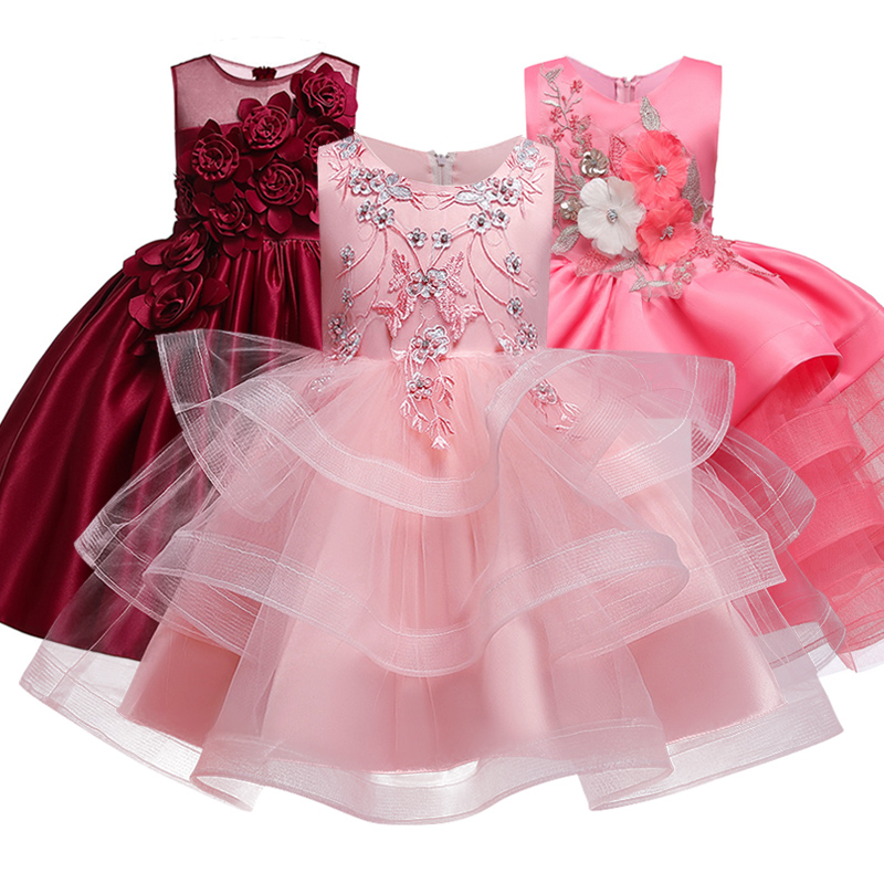 Girls'Ceremony Party Embroidery Dress Flower Girls' Beaded Wedding Garment Party Dress Children's Pengpeng Show Costume