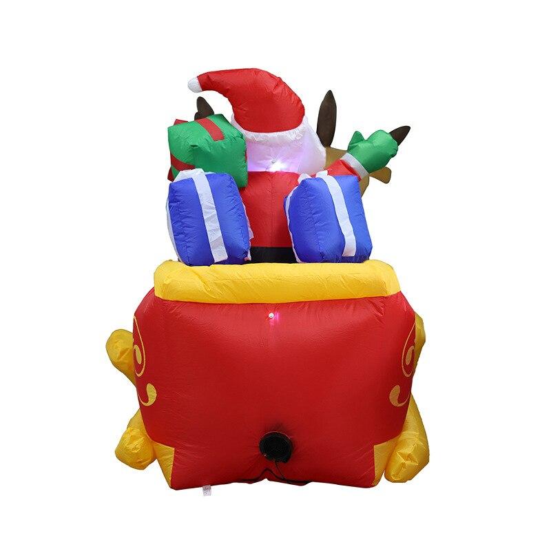 4 м длинные рождественские украшения надувной Санта Клаус со светодиодным освещением, гигантские надувные Санта Клаус снегоход олень сани ... - 2
