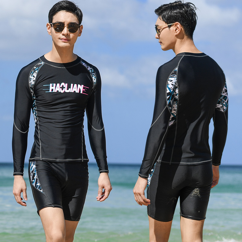 2019 Bathing Suit Men's Set Split Type Long Sleeve Trousers Sun-resistant Quick-Dry Diving Suit Short-sleeved Top Swimming Trunk