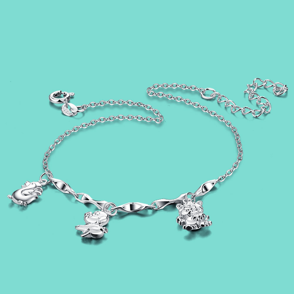 New women's 925 sterling silver chains cute animal pendant Solid silver anklets Not allergic summer Foot jewelry birthday gift