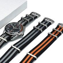 Qualité supérieure 007 Nato Bracelet 20mm 22mm Nylon Bracelets Pour Omega Sangles Seamaster Seiko SKX007 GMT Blackbay Bracelet Militaire