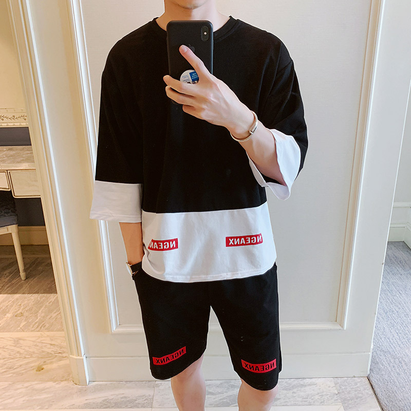 2019 Spring Clothing New Style Men Casual Sports Hoodie Teenager Trend Mixed Colors Three-quarter-length Sleeve Shorts Set