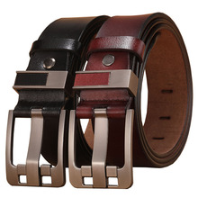 2020 Letter Pin Buckle Cow Genuine Leather Mens Belt for Men Male Vintage Jeans Cowskin