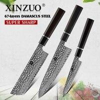 XINZUO 3PCS Knife Set Damascus Steel Kitchen Knives Japanese Style Chef Nakiri Utility Knife Best Family Gift Cooking Tools