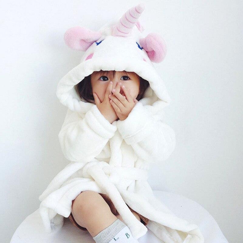 Girls Autumn And Winter Tracksuit Cute Baby Unicorn Baby Bathrobe CHILDREN'S Pajamas Free Agent
