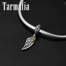 Authentic 925 Sterling Silver wings of an angel Gold Heart fine Pendant Beads Fit Original Pandora Charm Bracelet Jewelry making(China)