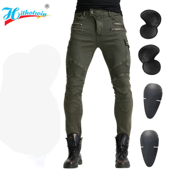 2019 New Khaki Motorcycle Pants Black Men Moto Jeans Zipper Protective Gear Blue Motorbike Trousers Motocross Pants Moto Pants - Hi-07 Green A, XXXL