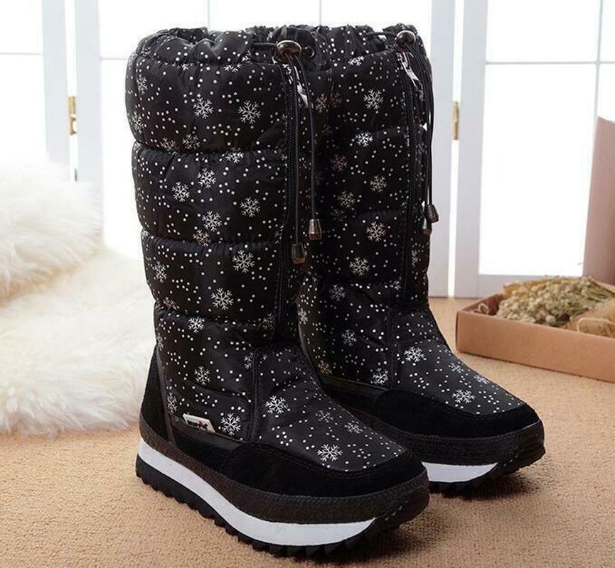 Femmes hiver mi-mollet bottes Top Pull sur imperméable en peluche neige chaussures flocon de neige imprimé épaissir chaud Zip à lacets 6Styles Plus Sz - 2