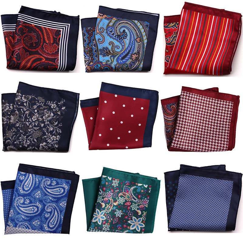 YISHLINE New Distinctive Men Handkerchief Pocket Square Fashion Print Large Man Floral Dot Men Chest Hankies For Men's Suit