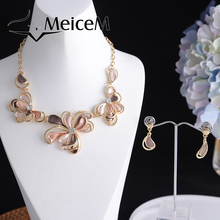 MeiceM Rose Necklace Sets for Women 2021 New Arrivals Crystal Flower Dangling Earrings Necklaces Set Woman Chain Necklace Set