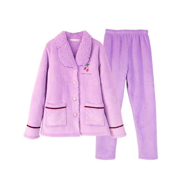 Cute cherry Pattern Winter Flannel Pajamas Set For Women Plush Fabric cardigan Sleepwear woman Pyjamas Suit Home Clothing - 6