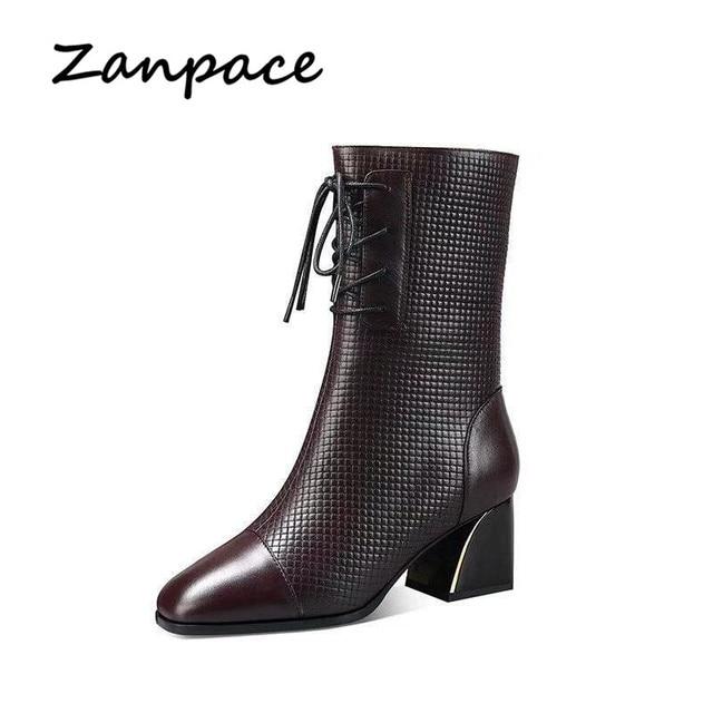 Bottes femme mode 2019 hiver Plus velours chaussures femme Martin bottes en cuir chaud tête carrée bottines pour femmes