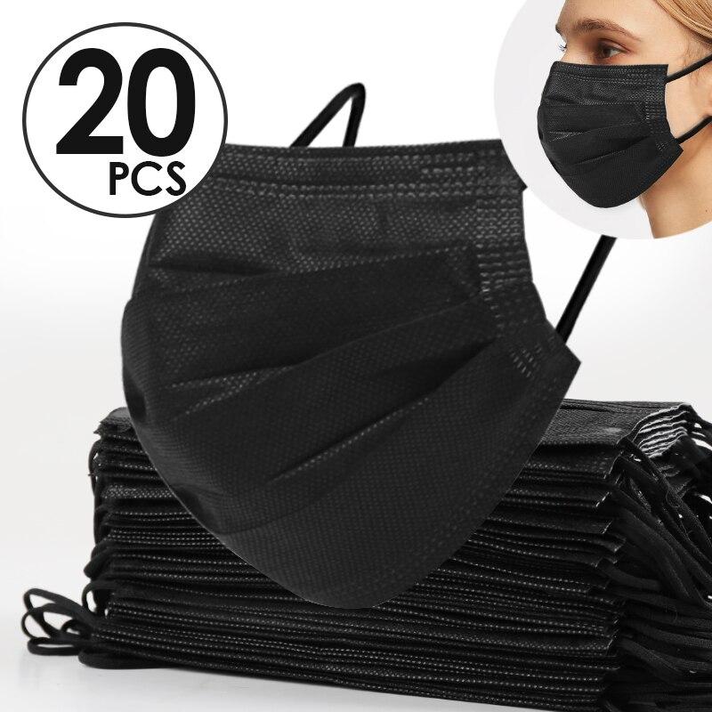 20-200pcs/lot Antivirus Mouth Mask Virus Nonwove 3 Layer Carbon Filter Men Women Face Mask Dust Mascarilla