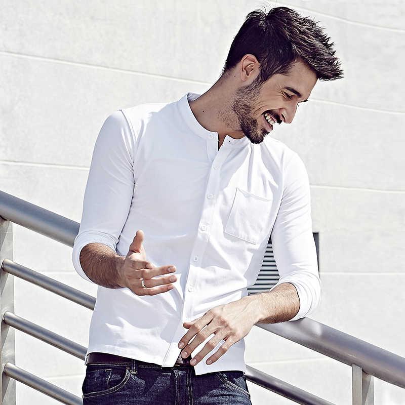 Kuegou 2019 outono botão de algodão simples branco t camisa dos homens camiseta marca camiseta manga longa camiseta roupas casuais mais tamanho 765