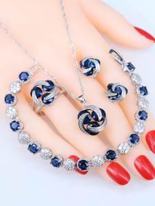 Rings Bracelets Necklace Pendant 925-Jewelry-Sets Silver Dark-Blue Cubic-Zirconia Women