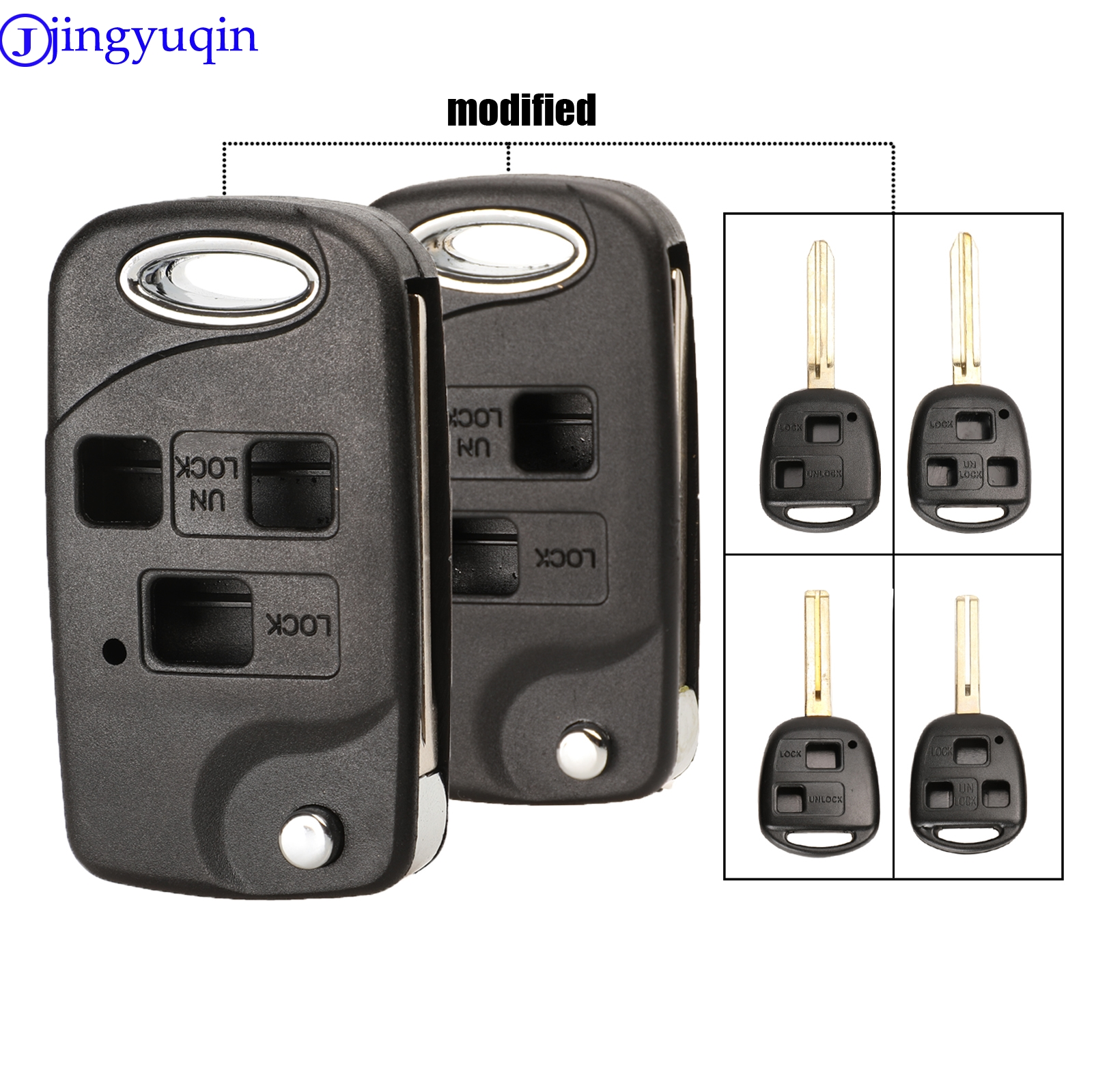 Jingyuqin 2/3 Buttons Remote Folding Flip Car Key Shell Case For Toyota Yaris Carina Corolla Avensis Cover Toy43 Toy48 Blade Fob