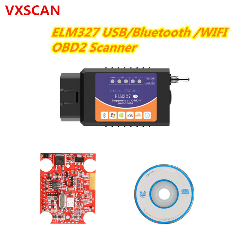 KOLSOL ELM327 USB V1.5 with Switch modified for Ford ELMconfig Forscan CH340+25K80 chip HS-CAN / MS-CAN(China)