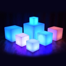 Glowing Cube Square Stool LED Light Cube Seat Chair Waterproof Rechargeable Lighting Sitting Stool Multipurpose Lighting