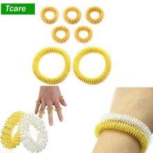 5 шт. массажные кольца для акупрессуры+ 2 шт. массажные кольца на запястье, китайская медицина, обезболивающее массажное кольцо для циркуляции пальцев