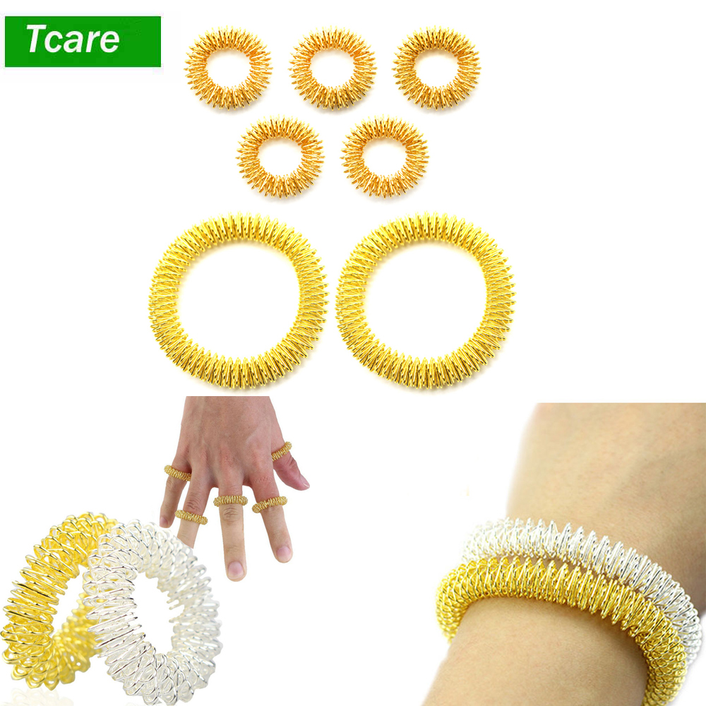 5Pcs Acupressure Massage Rings + 2Pcs Wrist Massager Rings, Chinese Medicine Pain Therapy Finger Circulation Massage Ring