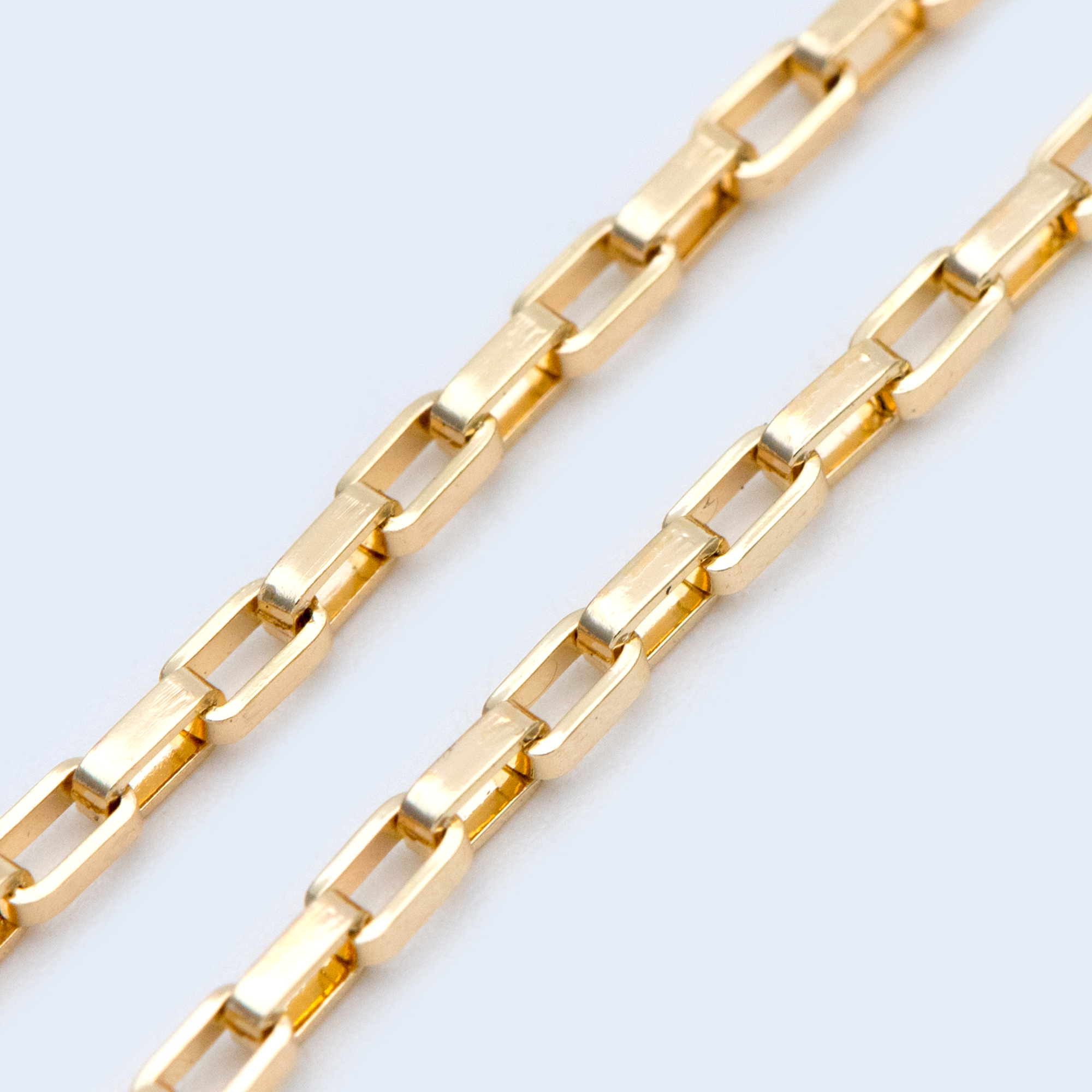 Gold Plated Brass Box Chains 2mm, Box Chain For DIY Necklace Wholesale (#LK-332)/ 1 Meter=3.3 Ft