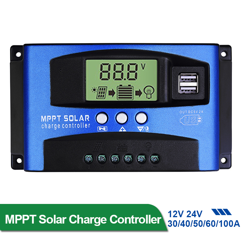 30/40/50/60/100A MPPT Solar Charge Controller Dual USB LCD Display 12V/24V Auto Solar Cell Panel Charger Regulator Charge