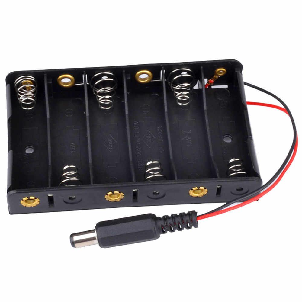 Caja de pilas AA, 6 soportes de almacenamiento para caja 18650, Banco de energía diy, caja con soporte para batería 18650, circuito con potencia DC2.1 para Arduino